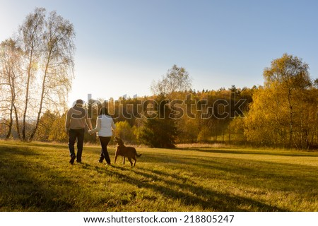Couple walk retriever dog autumn sunset countryside meadow holding hands