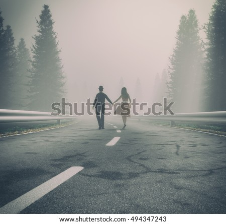 Couple walking hand on a forest road in foggy day. This is a 3d render illustration