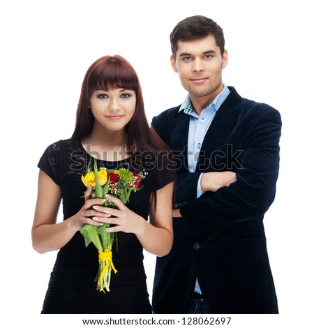 Couple with flowers on isolated white