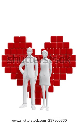 Couple with heart symbol.  Love concept - stock photo