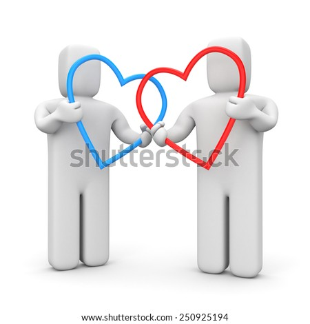 Couple with hearts - stock photo