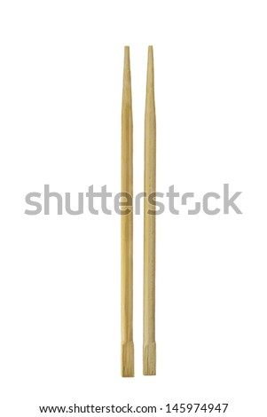 Couple wood chopsticks isolated over white