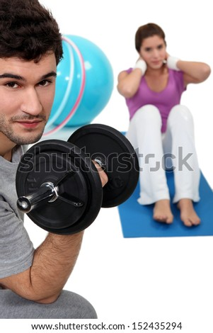 Couple working out - stock photo