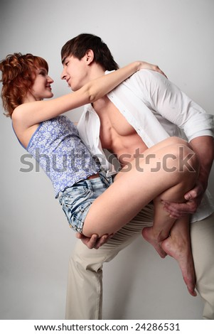couple young man and woman on white background