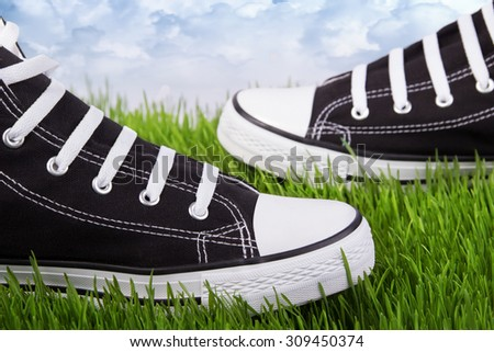 Couple youth sneakers, black and white sneakers, shoes on the green grass, outing, footwear close-up, green lawn, against the sky shoes, shoes for youth, sports shoes on the green grass. - stock photo