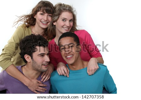 Couples on a double date. - stock photo