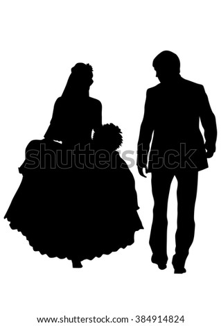 Couples people of wedding on white background - stock photo