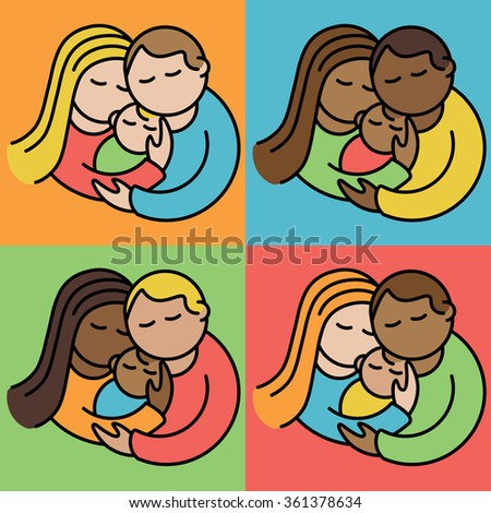 Couples With Babies illustration of multi-racial couples holding their babies.