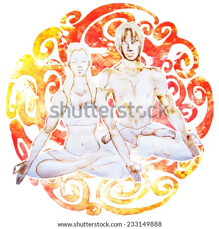 Couples yoga. Man and woman sitting in Lotus pose. - stock photo