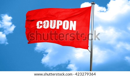 coupon, 3D rendering, a red waving flag - stock photo