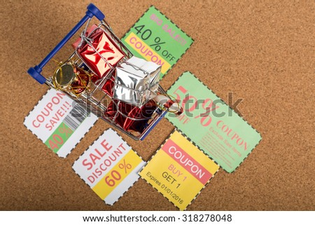 Coupon paper voucher for exchange and save your money concept. - stock photo