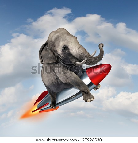 Courage and determination as a possibilities concept of a realistic elephant flying in the air on a rocket as a business symbol of achievement and belief in abilities to succeed in upward growth. - stock photo