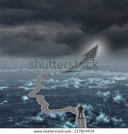 Courage to succeed personal growth concept as a person standing on an arrow road shaped as a human face and head over dangerous water as a hope metaphor for individual guidance and salvation pathway. - stock photo