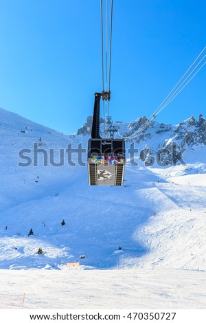 COURCHEVEL, FRANCE - JAN 29, 2016: Ski  lift Saulire.  Ski Resort Courchevel wintertime. France