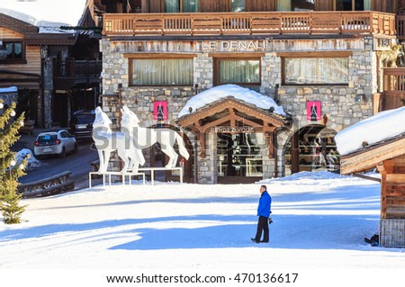 COURCHEVEL, FRANCE - JAN 29, 2016: Ski Resort Courchevel 1850 m in wintertime. Le Denali hotel.  France