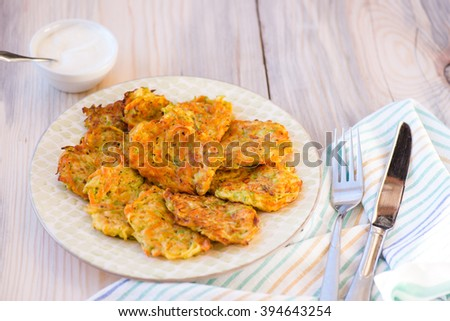 Courgette pancakes served with yogurt on plate