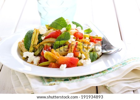 Courgette, tomato and feta salad