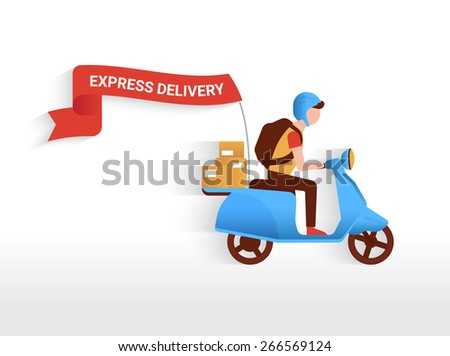 Courier riding blue motorbike with red flag to deliver mails to the clients - stock photo
