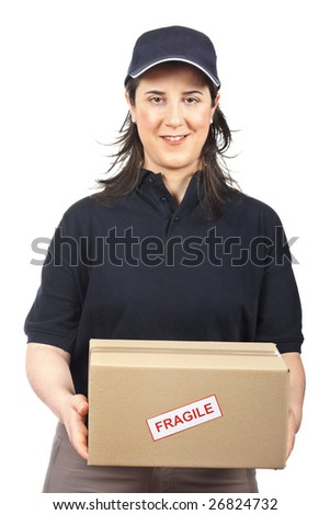 Courier woman delivering a package fragile on white background - stock photo