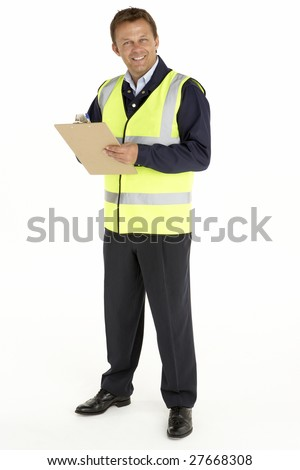 Courier Writing On A Clipboard - stock photo