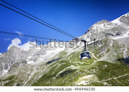 COURMAYEUR, IT - JULY 29, 2016: Cabin of new cableway SKYWAY MONTE BIANCO on the Italian side of Mont Blanc,Start from Entreves to Punta Helbronner at 3466 mt,in Aosta Valley region of Italy.