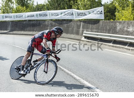 COURSAC,FRANCE-JUL 26:The American cyclist Tejay van Garderen ( BMC RacingTeam) pedaling  during the stage 20 ( time trial Bergerac - Perigueux) of Le Tour de France 2014.  - stock photo