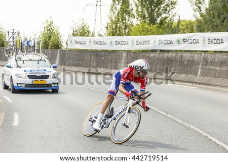 COURSAC,FRANCE-JUL 26:The Dutch cyclist Tom Dumoulin (Team Giant-Shimano) pedaling during the stage 20 ( time trial Bergerac - Perigueux) of Le Tour de France 2014.