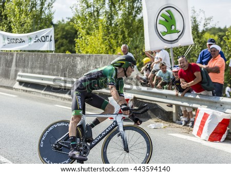 COURSAC,FRANCE-JUL 26:The French cyclist Pierre Rolland ( Europcar Team) pedaling during the stage 20 ( time trial Bergerac - Perigueux) of Le Tour de France 2014.