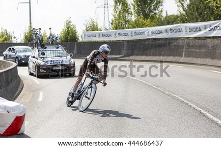 COURSAC,FRANCE-JUL 26: The French cyclist Romain Bardet (Ag2r-La Mondiale Team) pedaling during the stage 20 ( time trial Bergerac - Perigueux) of Le Tour de France 2014.