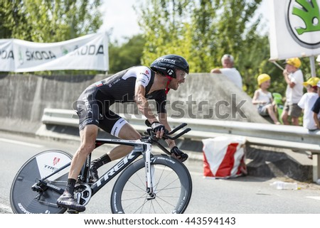 COURSAC,FRANCE-JUL 26:The Luxembourgish cyclist Frank Schleck ( Trek Team) pedaling during the stage 20 ( time trial Bergerac - Perigueux) of Le Tour de France 2014.