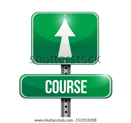 course road sign illustration design over a white background - stock photo