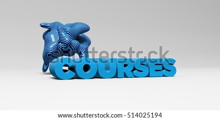 COURSES - 3D rendered colorful headline illustration.  Can be used for an online banner ad or a print postcard.