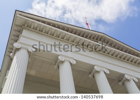 court and legal type image - interesting angle with american flag - stock photo