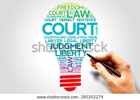 Court bulb word cloud concept - stock photo