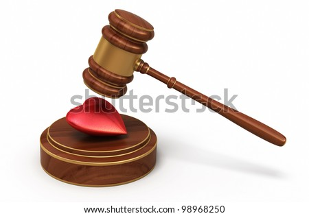 Court Gavel and heart render (isolated on white and clipping path) - stock photo