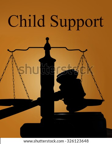 Court gavel and scales of justice silhouette with Child Support text - stock photo