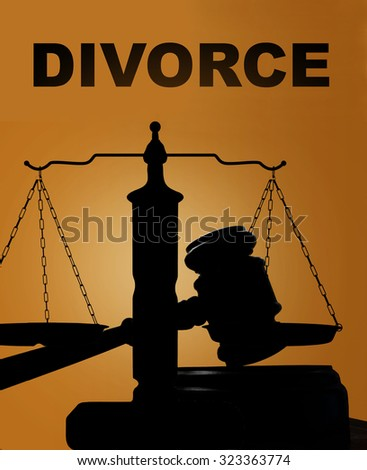 Court gavel and scales of justice silhouette with Divorce text - stock photo