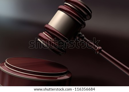 Court Gavel 3d render ( depth of field ) - stock photo