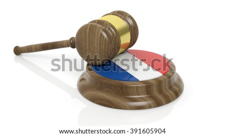 Court hammer with French flag on white background - stock photo