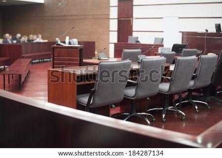 court house interior - stock photo