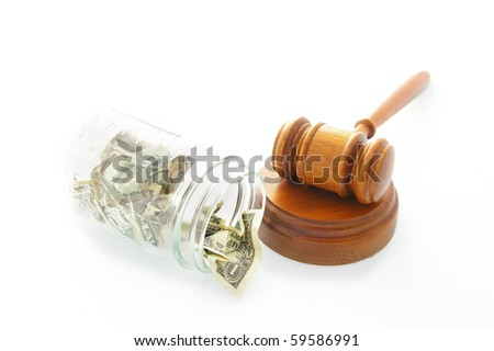 court legal gavel and jar with cash - stock photo