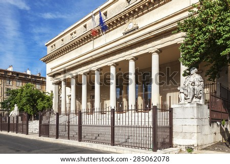 Court of appeal in Aix en Provence with statues, France - stock photo