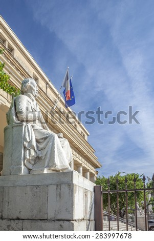 Court of appeal with statue in Aix en Provence City - stock photo