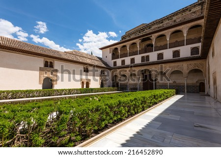 Court of the Myrtles in La Alhambra, Granada, Spain - stock photo
