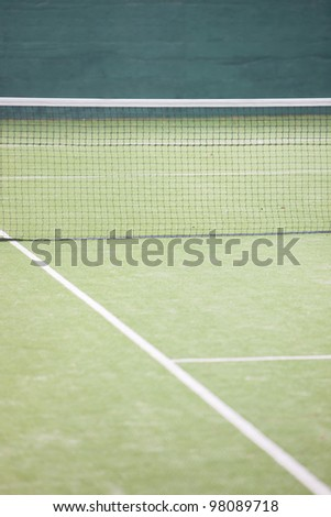 court view on a tennis court - stock photo