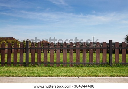 court yard with a green grass - stock photo