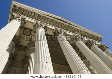 courthouse  against diving with perspective - stock photo
