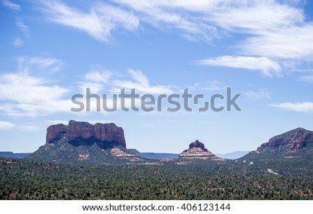 Courthouse Butte and Bell Rock in Sedona Arizona - stock photo