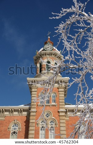 courthouse in an ice storm - stock photo