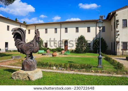 Courtyard at an old cloister near Florence in Tuscany, Italy. - stock photo